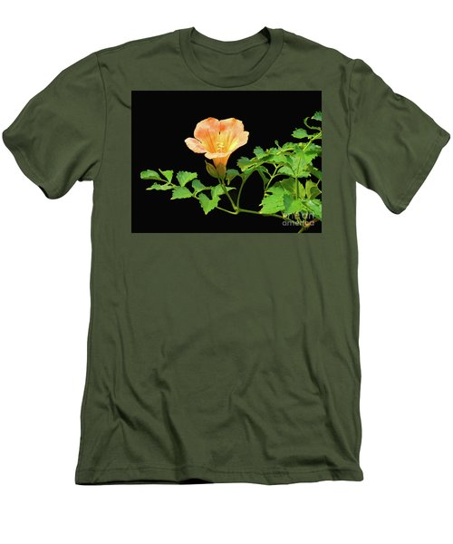 Orange Trumpet Flower Men's T-Shirt (Slim Fit) by Susan Lafleur