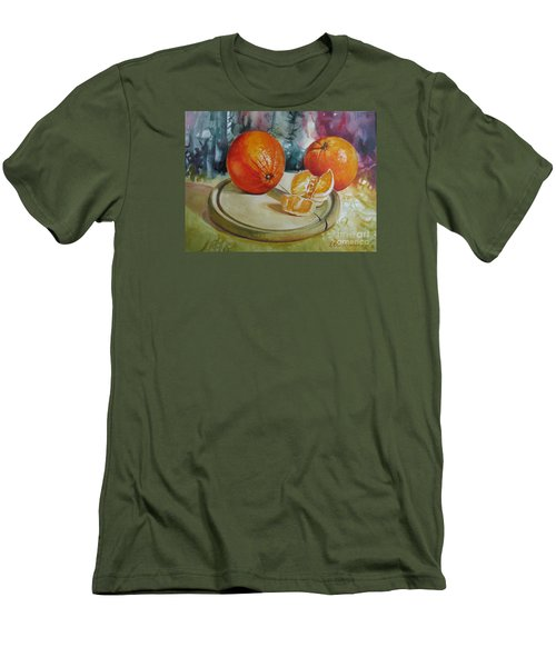Men's T-Shirt (Slim Fit) featuring the painting Oranges by Elena Oleniuc