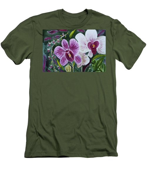 Men's T-Shirt (Slim Fit) featuring the painting Orchid At Aos 2010 by Donna Walsh