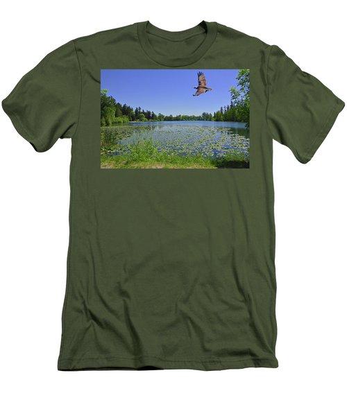 Osprey Fishing At Wapato Lake Men's T-Shirt (Athletic Fit)