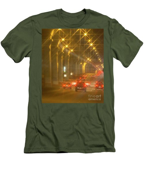 Men's T-Shirt (Slim Fit) featuring the photograph Overpass Traffic by Linda Phelps