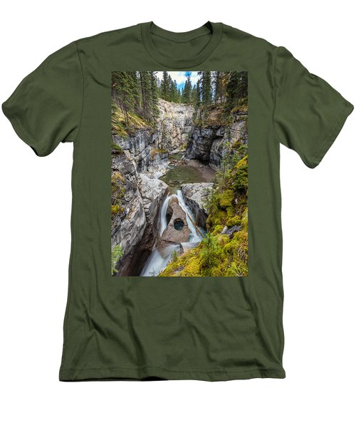 Men's T-Shirt (Slim Fit) featuring the photograph Owl Face Falls Of Maligne Canyon by Pierre Leclerc Photography