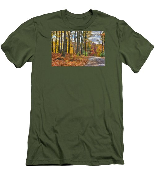Pa Country Roads - Autumn Colorfest No. 3 - Fire In The Woods - Northumberland County Men's T-Shirt (Slim Fit) by Michael Mazaika