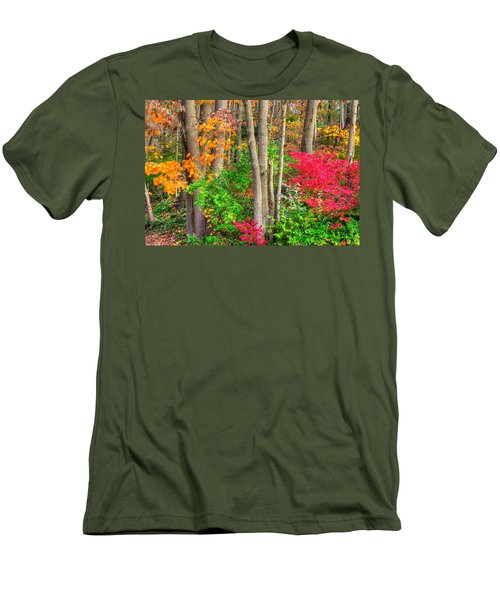 Pa Country Roads - Autumn Flourish - Harmony Hill Nature Area - Chester County Pa Men's T-Shirt (Slim Fit) by Michael Mazaika