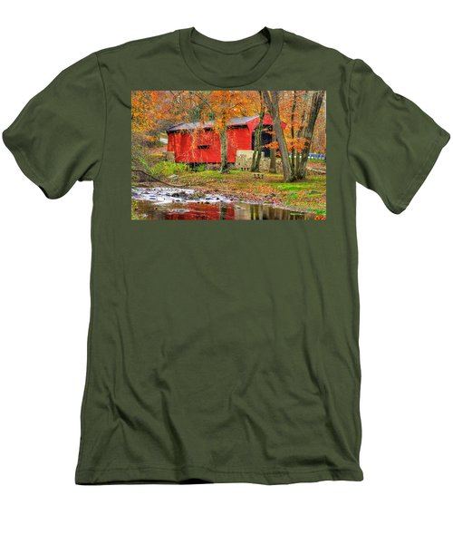 Pa Country Roads- Bartrams / Goshen Covered Bridge Over Crum Creek No.11 Chester / Delaware Counties Men's T-Shirt (Slim Fit) by Michael Mazaika