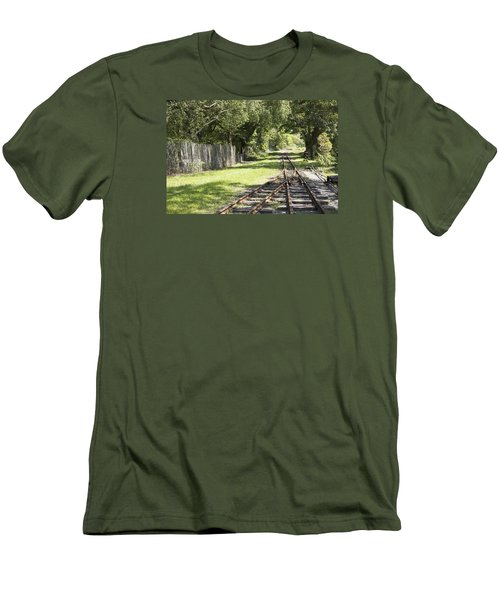 Men's T-Shirt (Slim Fit) featuring the photograph Padarn Lake Railway by Christopher Rowlands