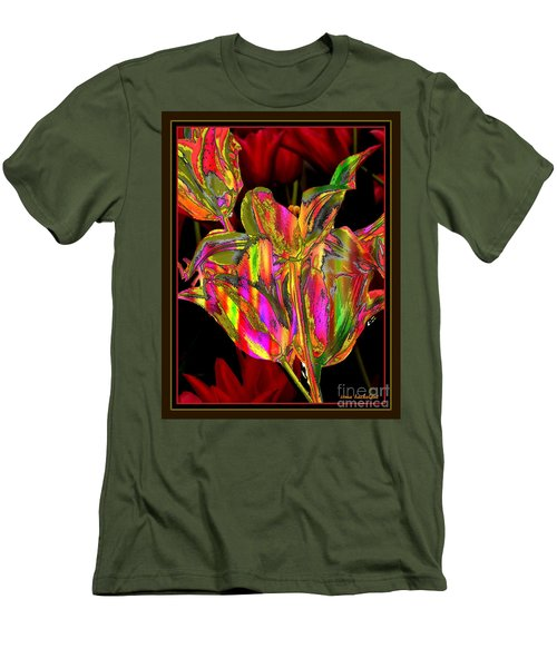 Men's T-Shirt (Slim Fit) featuring the photograph Painted Tulips by Irma BACKELANT GALLERIES