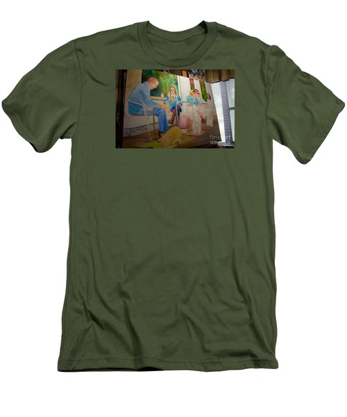 Men's T-Shirt (Slim Fit) featuring the painting Painting Dogs On Park Avenue by AnnaJo Vahle