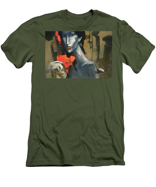 Painting Of The Lady _ 1 Men's T-Shirt (Slim Fit) by Behzad Sohrabi