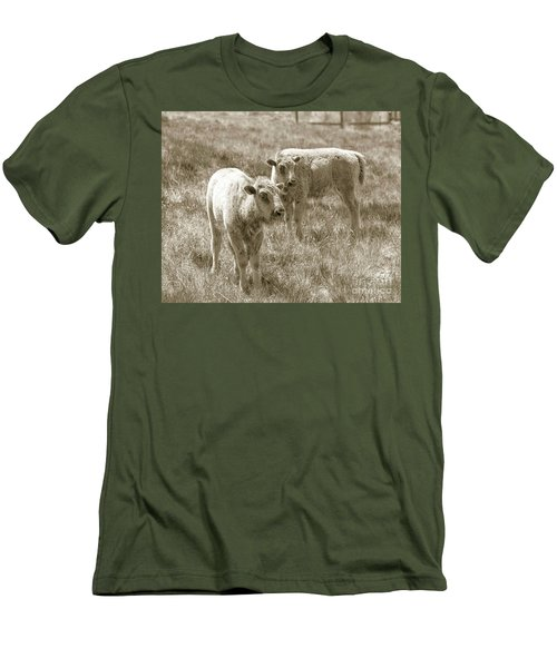 Men's T-Shirt (Slim Fit) featuring the photograph Pair Of Baby Buffalos by Rebecca Margraf