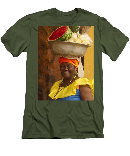 Palenquera In Cartagena Colombia Men's T-Shirt (Slim Fit) by David Smith