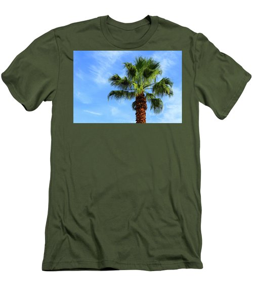 Palm Tree, Blue Sky, Wispy Clouds Men's T-Shirt (Athletic Fit)