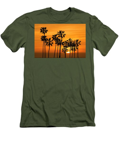 Men's T-Shirt (Slim Fit) featuring the photograph Palm Trees At Sunset By Cabrillo Beach by Randall Nyhof