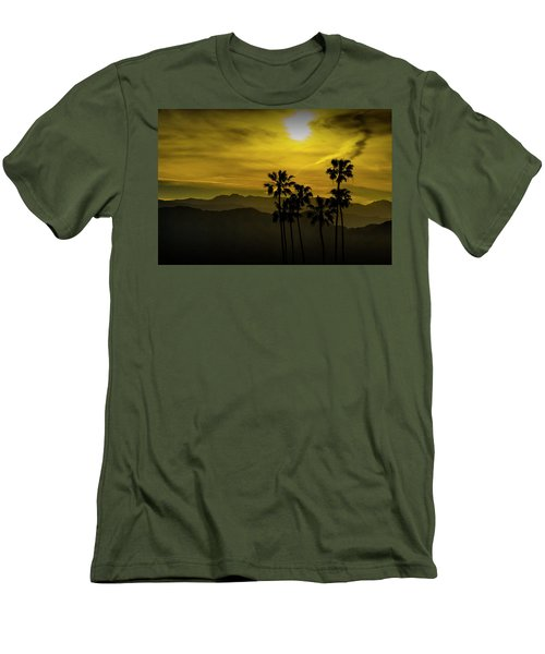Men's T-Shirt (Slim Fit) featuring the photograph Palm Trees At Sunset With Mountains In California by Randall Nyhof