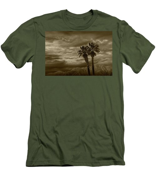 Men's T-Shirt (Slim Fit) featuring the photograph Palm Trees By Borrego Springs In Sepia Tone by Randall Nyhof