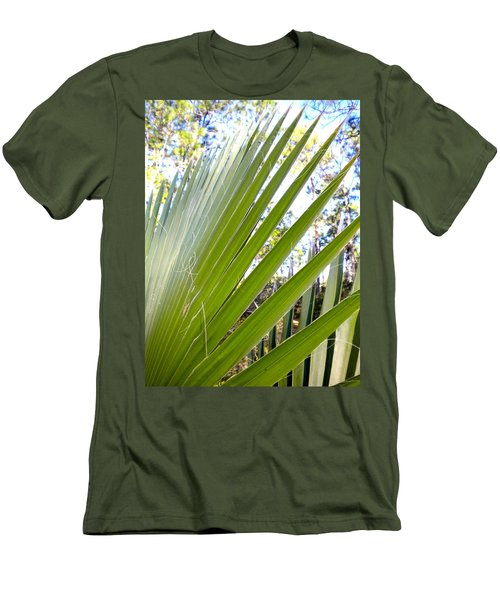 Men's T-Shirt (Slim Fit) featuring the painting Palmetto 1 by Renate Nadi Wesley