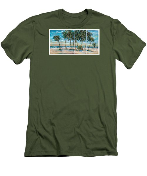 Palms Along The Shore Men's T-Shirt (Slim Fit) by Linda Olsen