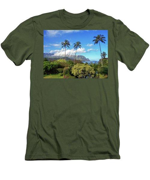 Palms At Hanalei Men's T-Shirt (Slim Fit) by James Eddy