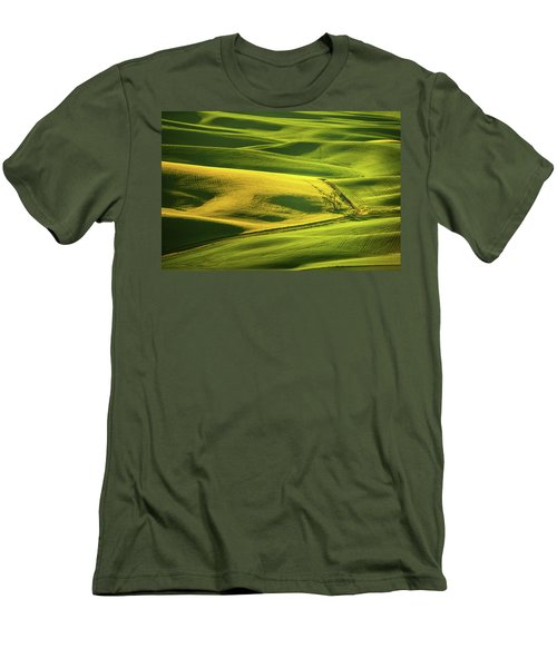 Men's T-Shirt (Slim Fit) featuring the photograph Palouse Shades Of Green by Dan Mihai
