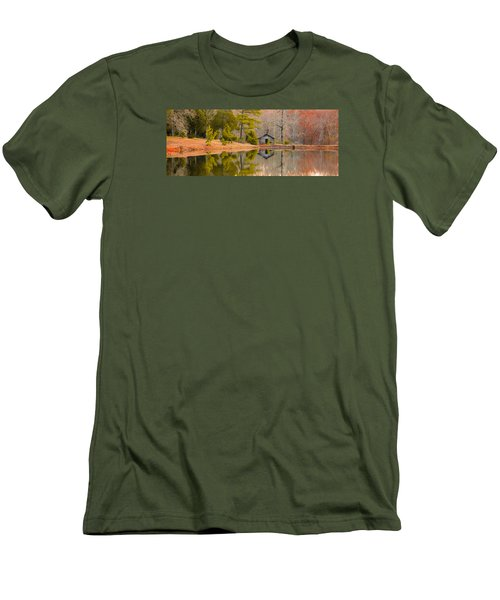 Panorama Of Cabin By The Lake Men's T-Shirt (Slim Fit) by Shelby  Young