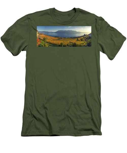 Panorama On Lavaux Region, Vaud, Switzerland Men's T-Shirt (Athletic Fit)