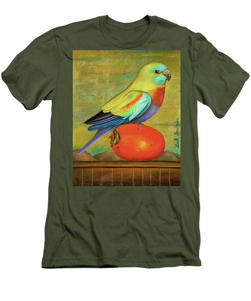 Parakeet On A Persimmon Men's T-Shirt (Slim Fit) by Leah Saulnier The Painting Maniac