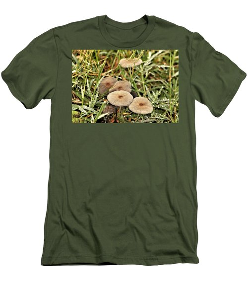 Men's T-Shirt (Athletic Fit) featuring the photograph Parasol Mushrooms And Morning Dew by Sheila Brown