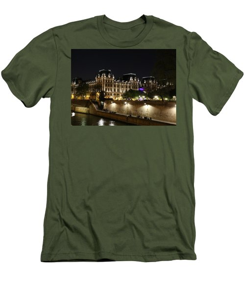 Men's T-Shirt (Slim Fit) featuring the photograph Paris Police Headquarters by Andrew Fare
