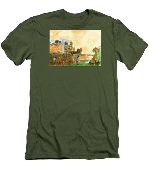 Paris Watercolor Men's T-Shirt (Athletic Fit)
