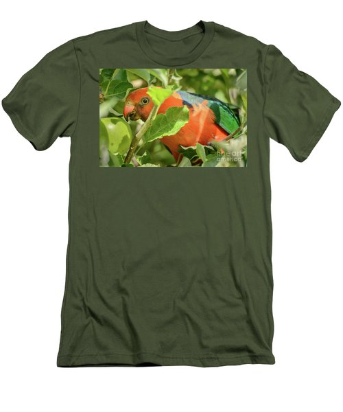 Men's T-Shirt (Athletic Fit) featuring the photograph  Parrot In Apple Tree by Werner Padarin