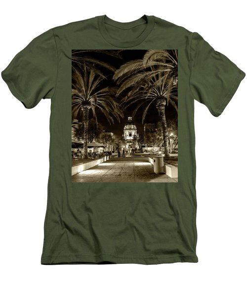 Men's T-Shirt (Slim Fit) featuring the photograph Pasadena City Hall After Dark In Sepia Tone by Randall Nyhof