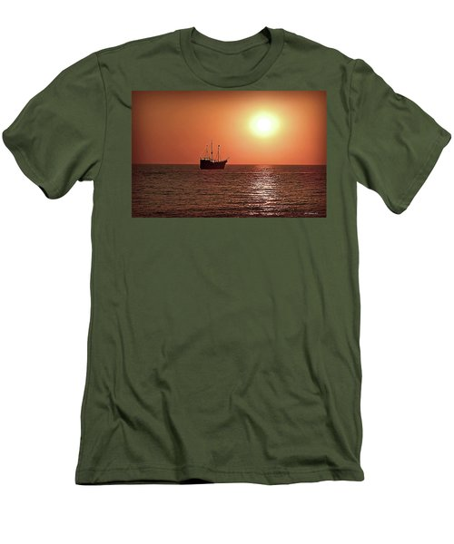 Men's T-Shirt (Slim Fit) featuring the photograph Passing By In Calm Waters by Joan  Minchak