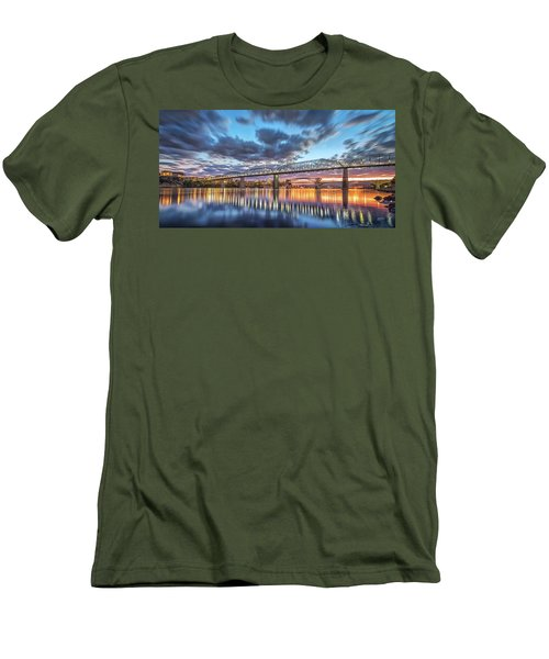 Passing Clouds Above Chattanooga Pano Men's T-Shirt (Slim Fit) by Steven Llorca