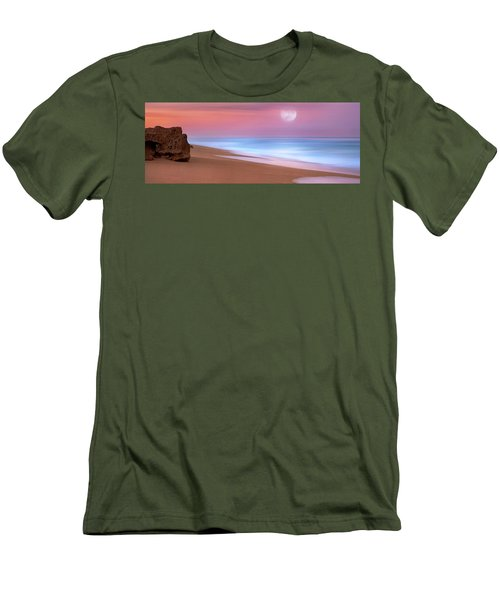 Men's T-Shirt (Slim Fit) featuring the photograph Pastel Sunset And Moonrise Over Hutchinson Island Beach, Florida. by Justin Kelefas