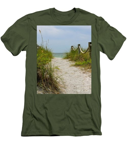 Men's T-Shirt (Slim Fit) featuring the photograph Pathway To The Beach by Carol  Bradley