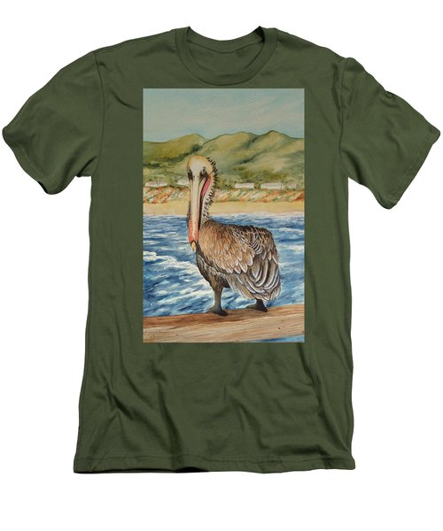 Men's T-Shirt (Slim Fit) featuring the painting Paula's Pelican by Katherine Young-Beck