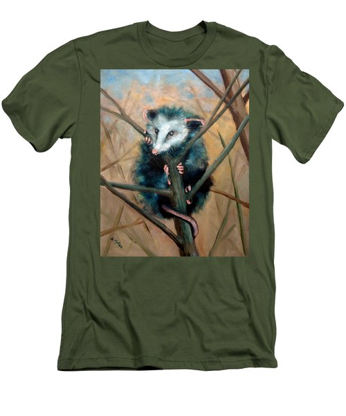Men's T-Shirt (Slim Fit) featuring the painting Paulie Chose Poorly by Suzanne McKee
