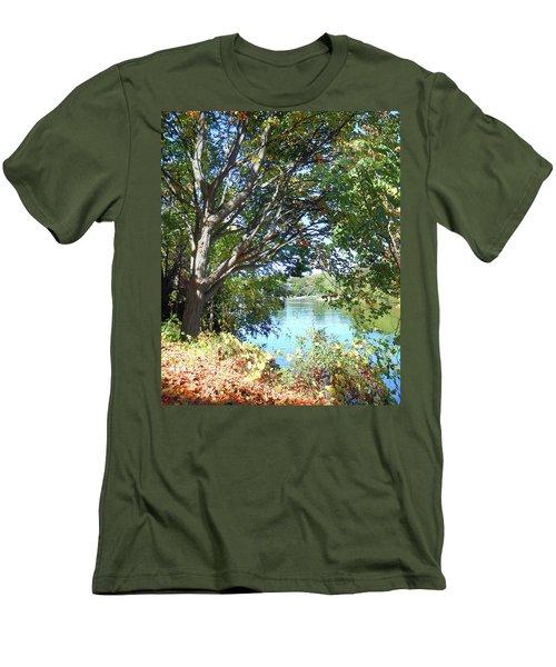Men's T-Shirt (Athletic Fit) featuring the photograph Peaceful Autumn Lake  by Irina Sztukowski
