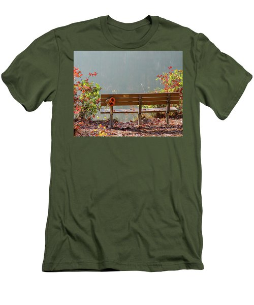 Men's T-Shirt (Slim Fit) featuring the photograph Peaceful Bench by George Randy Bass