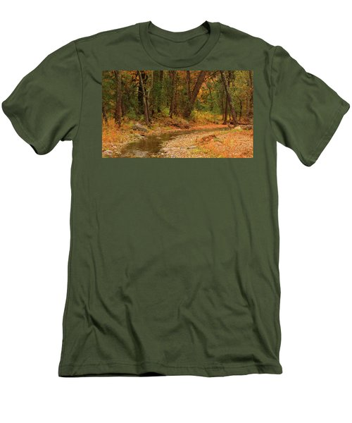 Men's T-Shirt (Slim Fit) featuring the photograph Peaceful Stream by Roena King