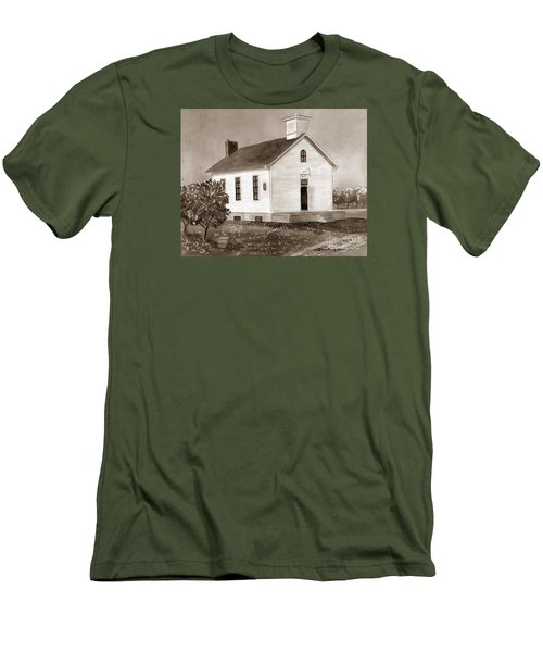 Peach Grove School Sepia Men's T-Shirt (Slim Fit) by LeAnne Sowa