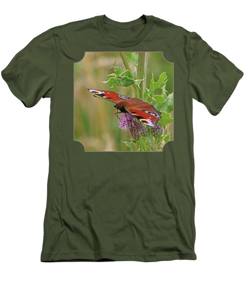 Peacock Butterfly On Thistle Square Men's T-Shirt (Slim Fit) by Gill Billington