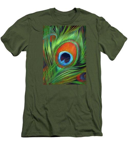Peacock Feather Men's T-Shirt (Slim Fit) by Nancy Tilles