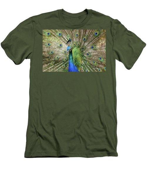 Men's T-Shirt (Athletic Fit) featuring the photograph Peacock Indian Blue by Sharon Mau