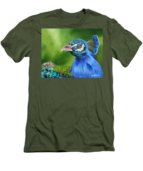 Peacock Profile Men's T-Shirt (Slim Fit) by Phyllis Beiser