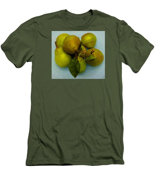 Men's T-Shirt (Slim Fit) featuring the photograph Pears In Blue Bowl by Brenda Pressnall