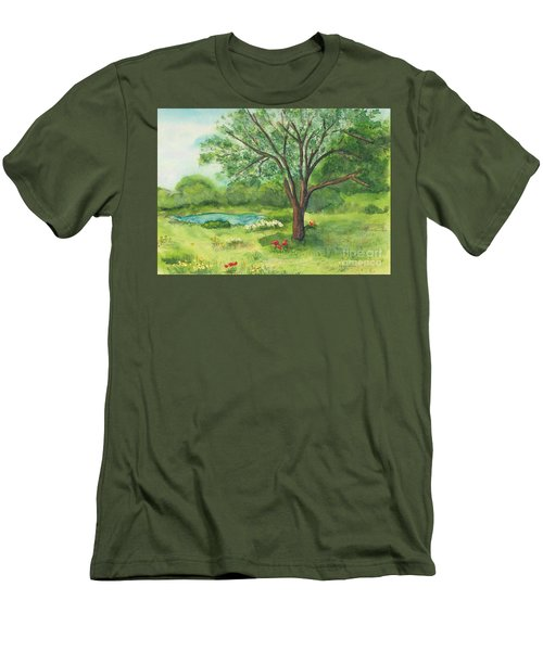 Men's T-Shirt (Slim Fit) featuring the painting Pedro's Tree by Vicki  Housel