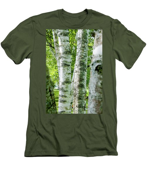 Peek A Boo Birch Men's T-Shirt (Slim Fit) by Greg Fortier