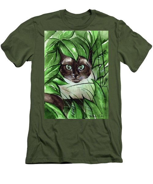 Men's T-Shirt (Athletic Fit) featuring the painting Peek A Boo Siamese Cat by Dora Hathazi Mendes