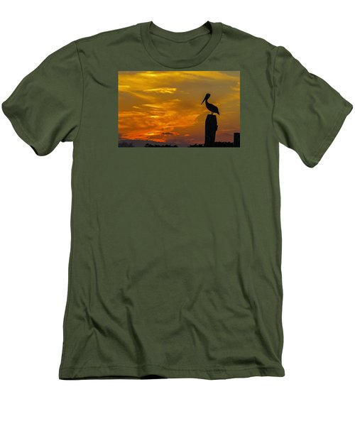 Pelican At Silver Lake Sunset Ocracoke Island Men's T-Shirt (Slim Fit) by Greg Reed